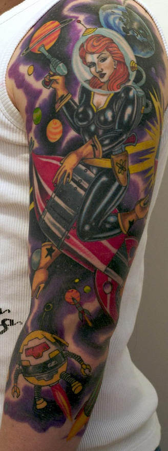 Outer space theme sleeve tattoo
