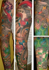 Music instrument tattoo sleeve